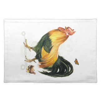 Proud Rooster with hen and chickens. Cloth Placemat