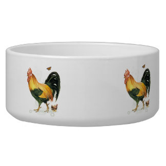 Proud Rooster with hen and chickens. Dog Bowls