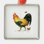 Proud Rooster with hen and chickens. Ornaments