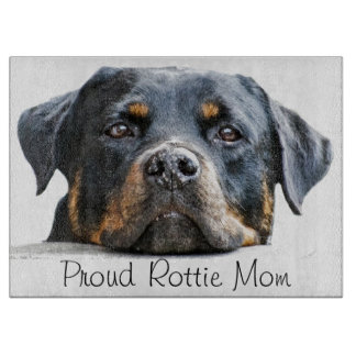 Proud Rottie Mom | Rottweiler Dog Face Cutting Board