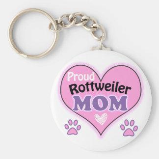 Proud Rottweiler Mom Basic Round Button Keychain