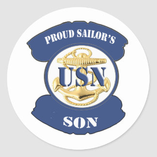 Proud Sailor's Son Classic Round Sticker
