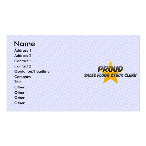 Proud Sales Floor Stock Clerk Double-Sided Standard Business Cards (Pack Of 100)