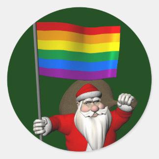 Proud Santa Claus With Rainbow Flag Classic Round Sticker