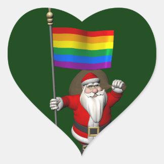 Proud Santa Claus With Rainbow Flag Heart Sticker