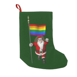 Proud Santa Claus With Rainbow Flag Small Christmas Stocking