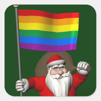 Proud Santa Claus With Rainbow Flag Square Sticker