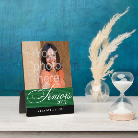 Proud seniors green black graduation class photo plaque