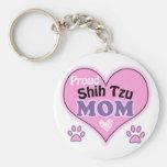 Proud Shih Tzu Mom Basic Round Button Keychain