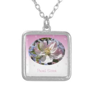 Proud Sister Apple Blossom Flower Square Pendant Necklace