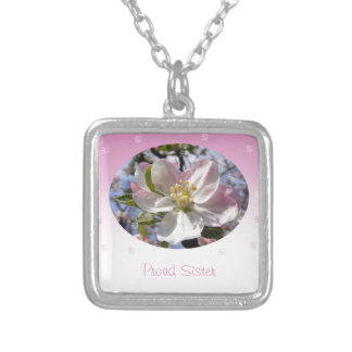 Proud Sister Apple Blossom Flower Silver Plated Necklace