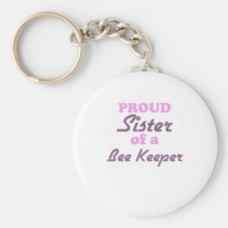 Proud Sister of a Bee Keeper Basic Round Button Keychain