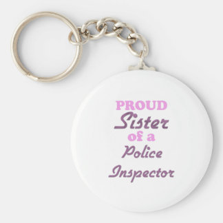 Proud Sister of a Police Inspector Basic Round Button Keychain