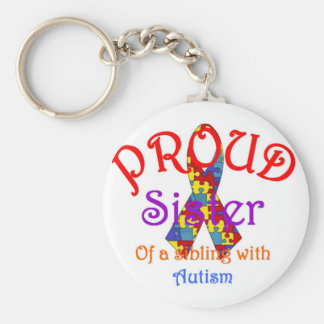 Proud Sister of a Sibling with Autism Keychain