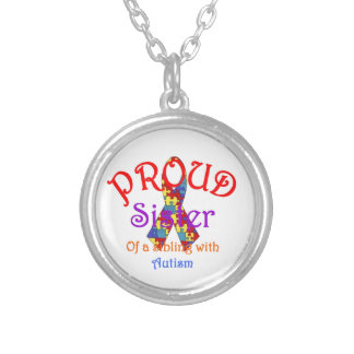 Proud Sister of a Sibling with Autism Round Pendant Necklace