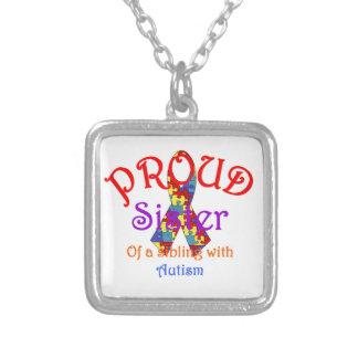 Proud Sister of a Sibling with Autism Square Pendant Necklace