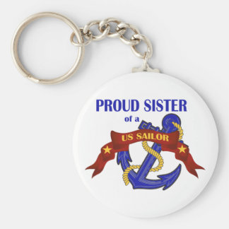 Proud Sister of a US Sailor Basic Round Button Keychain