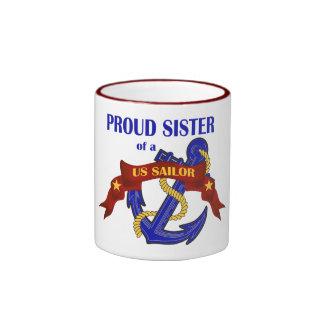 Proud Sister of a US Sailor Ringer Coffee Mug