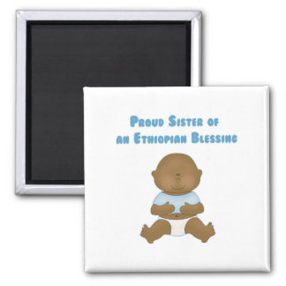 Proud Sister of an Ethiopian Blessing 2 Inch Square Magnet