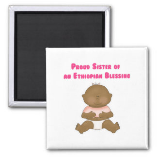 Proud Sister of an Ethiopian Blessing girl 2 Inch Square Magnet