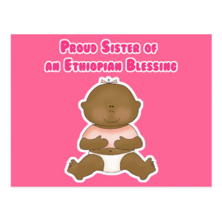 Proud Sister of an Ethiopian Blessing girl Postcard