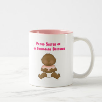 Proud Sister of an Ethiopian Blessing girl Two-Tone Coffee Mug