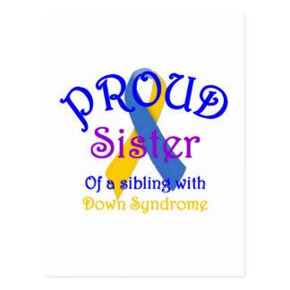 Proud Sister of Down Symdrome Sibling Postcard