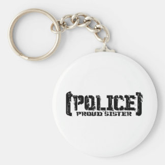 Proud Sister - POLICE Tattered Basic Round Button Keychain
