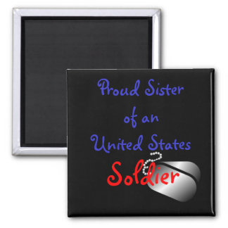Proud Sister Soldier 2 Inch Square Magnet