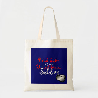 Proud Sister Soldier Budget Tote Bag