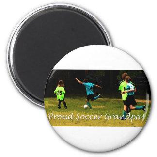 Proud Soccer Grandpa 2 Inch Round Magnet