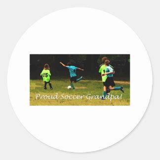 Proud Soccer Grandpa Classic Round Sticker
