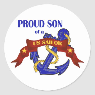Proud Son of a US Sailor Classic Round Sticker