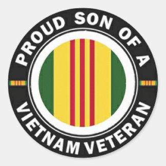 Proud Son of A Vietnam Veteran Round Stickers