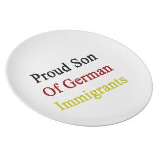 Proud Son Of German Immigrants Dinner Plate