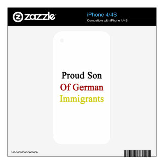 Proud Son Of German Immigrants iPhone 4 Skin