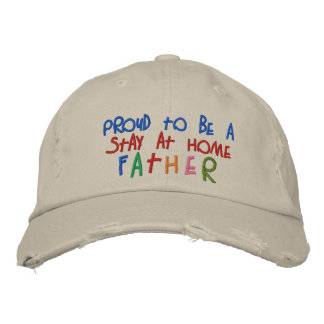 Proud Stay At Home Father Distressed Chino Cap Embroidered Hats