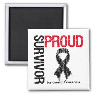 Proud Survivor - Melanoma 2 Inch Square Magnet