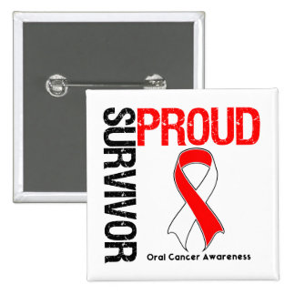 Proud Survivor - Oral Cancer Pinback Button