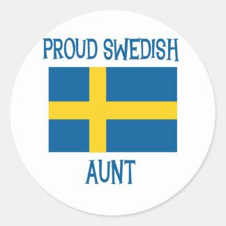 Proud Swedish Aunt Classic Round Sticker
