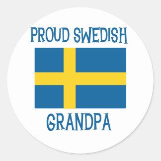 Proud Swedish  Grandpa Classic Round Sticker