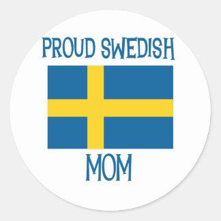 Proud Swedish Mom Classic Round Sticker