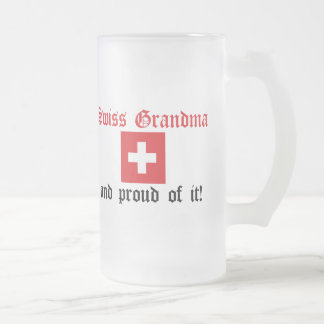 Proud Swiss Grandma Frosted Glass Beer Mug