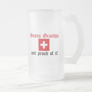 Proud Swiss Grandpa Frosted Glass Beer Mug