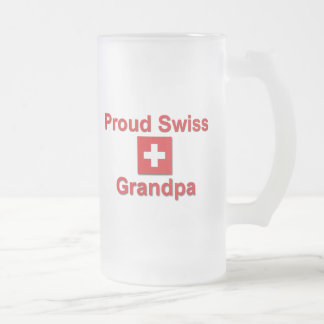Proud Swiss Grandpa Frosted Glass Beer Mug