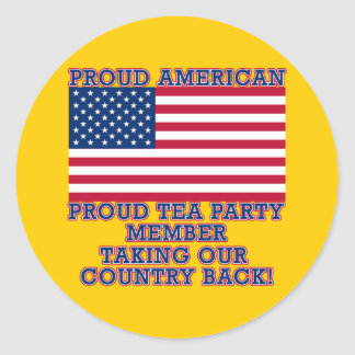 PROUD TEA PARTY MEMBER Tshirt Round Sticker