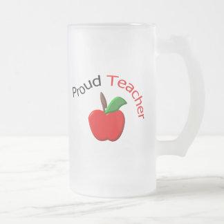 Proud Teacher Frosted Glass Beer Mug