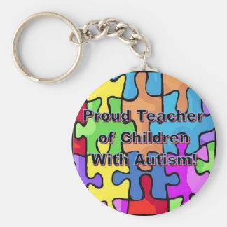 Proud Teacher of Children With Autism! Basic Round Button Keychain
