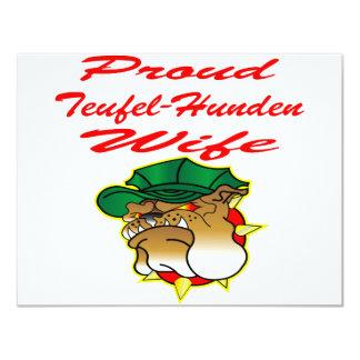 Proud Teufel-Hunden Wife 4.25x5.5 Paper Invitation Card