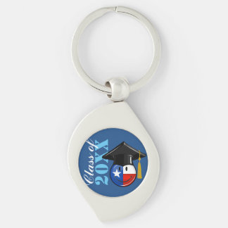 Proud Texas Graduate Smiling Flag Silver-Colored Swirl Metal Keychain